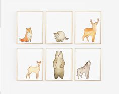 Woodland Animal Prints - Set of 6 Nursery Prints - Gender Neutral - Woodland Nursery Decor - Fox, Wolf, Bear, Racoon, Deer, Stag