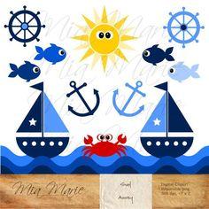 INSTANT DOWNLOAD - Digital Clip Art - Sailboat Clipart, Boat Clip Art…