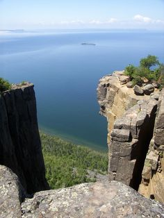 The View from Sleeping Giant, Thunder Bay, I actually have a photo taken of the Sleeping giant from the Terry Fox lookout point just outside out Sault Ste. Marie from my trip out to Calgary AB in the early 1980s. this photo shows the enormous size of the unusual part of the end of the Niagara escarpment!