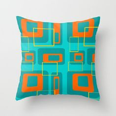 Turquoise Pillow, Mid Century Modern  Pillow, Geometric Pillow, Retro Pillow ,Blue Throw Pillow,Modern Pillow, Mod Pillow, Blue Pillow
