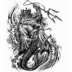 Poseidon Tattoo Design Designed By Nadia Bianca Graham Tattoos Arm Mann, Arm Tattoos For Guys, Leg Tattoos, Body Art Tattoos, Sleeve Tattoos, Poseidon Tattoo, Poseidon Drawing, Neptune Tattoo, Gott Tattoos