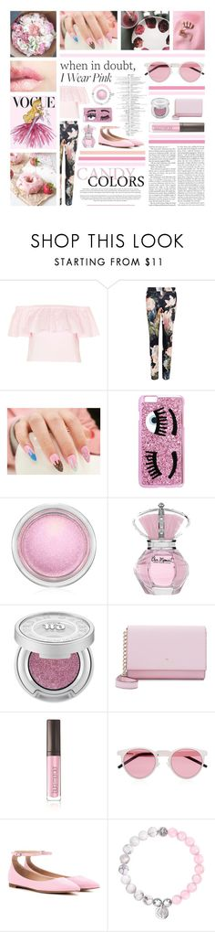 """""""43. But people say what they wanna say."""" by azerlindak ❤ liked on Polyvore featuring Topshop, Ted Baker, Chiara Ferragni, MAC Cosmetics, Urban Decay, Kate Spade, Laura Mercier, Illesteva and Gianvito Rossi"""