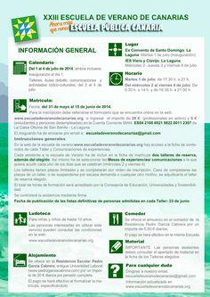 ESCUELA DE VERANO DE CANARIAS 2014: INFORMACIÓN GENERAL