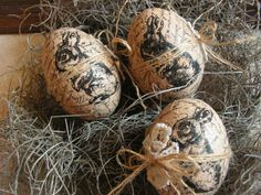 Rustic Easter eggs  set of 3 by Mydaisy2000 on Etsy, $18.00