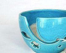 Ocean Blue Yarn bowl, Turquoise Blue leaf Knitting Bowl, Ceramic Yarn holder, Crochet Portable, BlueRoomPottery by Marietta, IN STOCK