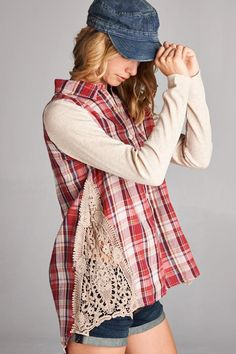 Button down plaid top with long sleeve patch and side lace details. - 70% Cotton, 25% Polyester, 5% Spandex - Hand Wash Cold/Hang dry - Small Measures Neckline to Hemline: 24 inches