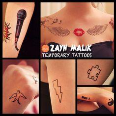 ON SALE - Zayn Malik Inspired Temporary Tattoos - One Direction on Etsy, $12.95