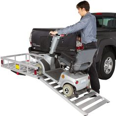 Take your power wheelchair or scooter anywhere you need to go with our affordable, lightweight hitch mounted carrier with ramp. Supports up to 500lbs.
