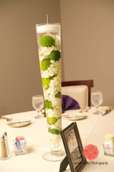 A Beautiful Blooms by Jen Wedding in Perrysburg, OH. White hydrangea and lime centerpiece in pilsner vase rented from Beautiful Blooms by Jen. Photo by Serendipity Photography