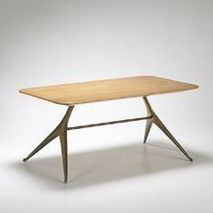 Carl Aubock, Brass and Figured Maple table, Furniture Board, Trendy Furniture, Vintage Furniture, Furniture Design, Mid-century Modern, Modern Design, Scandinavian Furniture, Mid Century Decor, Dining Bench