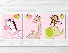 Safari Girl Jungle Animal Nursery Wall Art PRINTABLE Instant Download