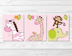 Jungle Jill Girl Jungle Animal Printable Nursery Wall Art, via Etsy.