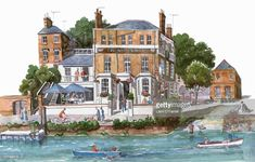 White Cross pub, Richmond, Richmond Upon Thames Richmond Upon Thames, Greater London, White Crosses, Urban Sketchers, Watercolor Paintings, Watercolour, Drawing S, Great Places, Sketches