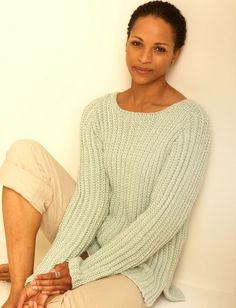 Easy Casual Pullover FREE knitting pattern - simple and elegant chunky ribbed sweater (hva)