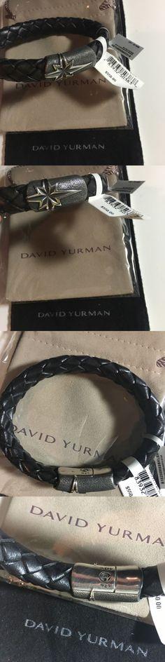 Bracelets 137835: New David Yurman Men Woven Leather North Star Silver Bracelet Black Medium $550! -> BUY IT NOW ONLY: $399 on eBay!