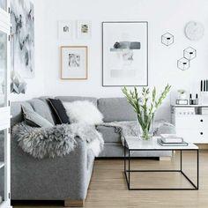 salon gris et blanc, couleur peinture salon blanc et canapé gris, parquet en bois, tableaux d'art moderne sur les murs