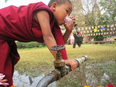 Young Buddhist priest drinking water in Bihar, India.