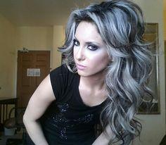 Platinum highlights on dark hair# not photoshoped version