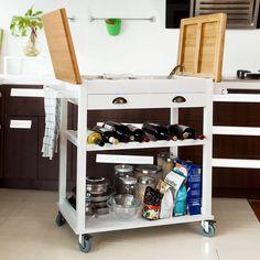 SoBuy XXL Servierwagen, Küchenwagen, Rollwagen, Kücheninsel FKW08-WN (Weiß+Natur): Amazon.de: Küche & Haushalt                                                                                                                                                                                 Mehr