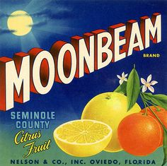 Wholesale 10 Moonbeam Seminole County Citrus Crate Labels Nelson & Co Oviedo, Fl