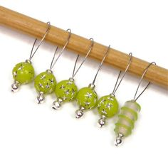 Beaded Stitch Markers Set Knitting Snag Free Lime by TJBdesigns, $7.50