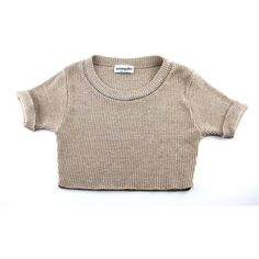 Vintage Tan Short Sleeve Rib Knit Studded Crop Top / Medium ($28) ❤ liked on Polyvore featuring tops, t-shirts, shirts, crop tops, crop tee, vintage tees, short sleeve shirts, loose fit t shirts and short sleeve tops