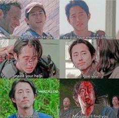 The Walking Death, Walking Dead Show, Walking Dead Zombies, Walking Dead Memes, Glen And Maggie, Glenn Y Maggie, Twd Glenn, Glenn Rhee, Lauran Cohan