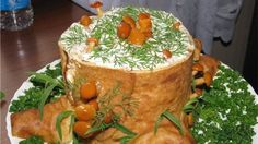 "Salad roll ""Stump"" delicious decorate a festive table! Salad ""Stump"" - it's aerobatics cooking! Easter Recipes, My Recipes, Cooking Recipes, Favorite Recipes, Meat Trays, Meat Platter, Veggie Cakes, Creative Food Art, Beach Meals"
