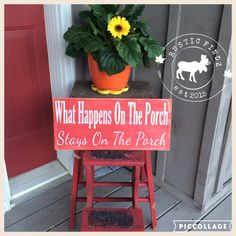 Add some cute décor to your porch with this What Happens on The Porch Stay on The Porch wooden sign. The sign measures 18 x 8 and is made from pine. The sign has been painted red with white lettering and has been distressed all over. The sign has been clear coated for protection and will include a saw tooth hanger for easy hanging.  Production time is about 3-5 days plus additional time for shipping. Signs are shipped via Canada Post and will include a tracking number.  Please note that…