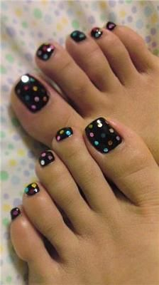Black Nail Polish w multi colored polkadots