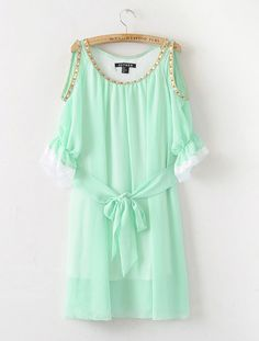 Solid Green Round Neck Short Sleeve Off The Shoulder Chiffon Dress:Buy at Sheinside. I WANT THIS!