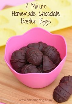super easy 2 minute dairy free homemade chocolate recipe - only 4 ingredients and no refined sugar - great for Easter - vegan/clean eating recipe