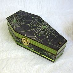 Coffin Box Spiderweb Decor Decoupaged Halloween Coffin Trinket Jewelry Keepsake Goth Black and Green Decorated Crystal Halloween Decor by rrizzart on Etsy
