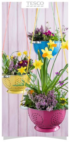Put old kitchen colanders to good use and transform them into pretty hanging baskets for your plants.