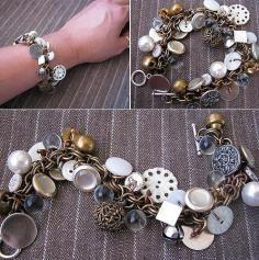 DIY Tutorial Button Jewelry / Gypsy Button Bracelet - Bead&Cord
