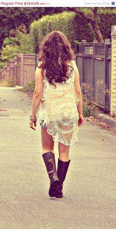 40% OFF SALE The free spirit. a vintage lace vest. boho. wild. OOAK.