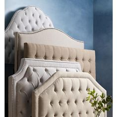 1e066390c23a Audrey Cosmo Stone Upholstered Queen Headboard - #8V221 | Lamps Plus