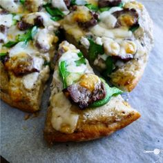 Philly cheesesteak pizza- Can be made GF or primal with different base