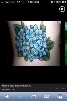Hydrangea tattoo design. By: tattooset.com