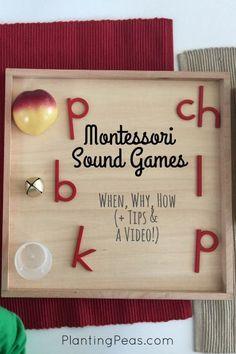 Montessori sound games -- what it is, when we started playing it, how to play… Montessori Kindergarten, Montessori Homeschool, Montessori Classroom, Preschool Literacy, Montessori Toddler, Montessori Activities, Teaching Activities, Language Lessons, Language Activities