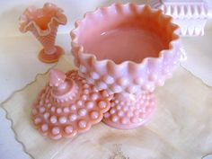 Fenton Hobnail Compote Candy Dish Pink Milk Glass - Art Glass