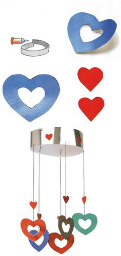 Manualidades infantiles | Manualidades para niños 33/movil de corazones, un perfecto regalo para papas y mamas