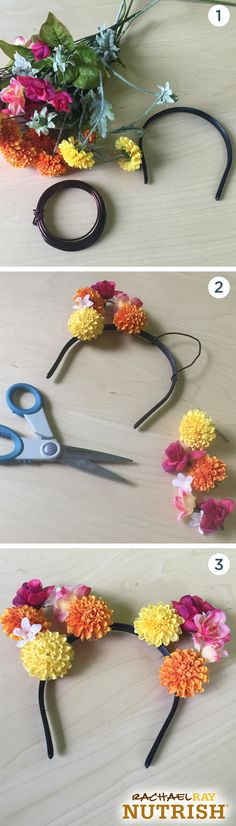 Skip the basic black cat ears this Halloween and go with DIY flower ones instead. Complete this floral feline look by wrapping wire around a headband in the shape of cat ears. Then simply cut fake flowers with wire in the stems and wrap around the ears. Mix and match different flower colors and sizes for a unique look!