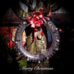 Motorcycle Tire Christmas Wreath