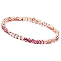 119-234 - Gem Treasures 14K Rose Gold 7.5'' Morganite & Pink Tourmaline Bracelet
