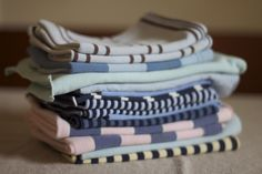 #DIY cloth napkins - stop using paper napkins! Super easy to make - just cut old shirts! #recycle