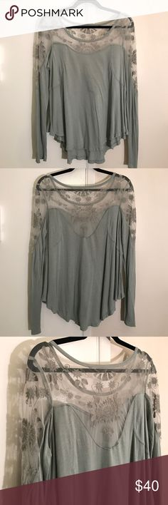 Free People Lace Detail Shirt Beautiful sage color, lace detail. Purchased from Free People; I cut the tag out so it wouldn't show through the lace. Slight longer in the back. Body shows some wear but in good condition. No trades. Free People Tops Tees - Long Sleeve
