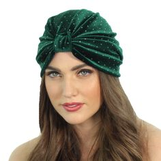 Emerald Green Velvet Studded Full Turban Headband Ear by ShopKP