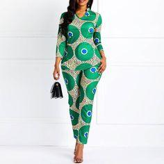 Belt Fashion Full Length Slim High Waist Jumpsuit Model: Slim Material: Polyester Thickness: Thin Length: Full Length Trousers Shape: Straight Waist Line: High Waist Elasticity: High Elasticity With Belt: No Pattern: Plain Embellishment: Latest African Fashion Dresses, African Dresses For Women, African Print Dresses, African Print Fashion, African Attire, African Clothes, African Suits, African Print Jumpsuit, Moda Afro
