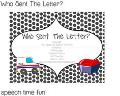 Speech Time Fun: Who Sent The Letter?! Fun creative activity that works on multiple language skills. Pinned by SOS Inc. Resources. Follow all our boards at pinterest.com/sostherapy for therapy resources.